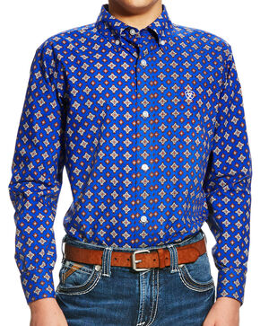 Ariat Boys' Blue Benchley Print Western Shirt , Multi, hi-res