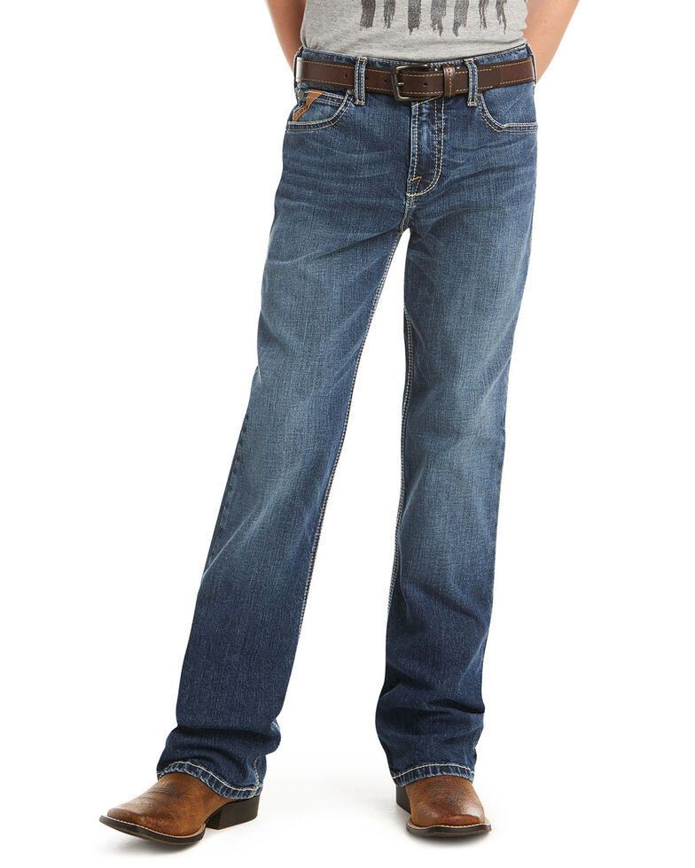 Ariat Boys' Nashville B4 Stretch Relaxed Bootcut Jeans , Blue, hi-res