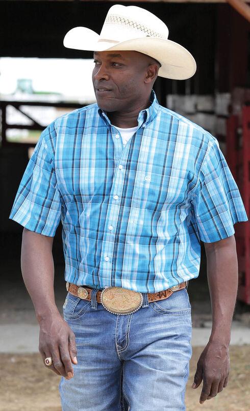 Cinch Men's ArenaFlex Blue Tri-Blend Short Sleeve Shirt , Blue, hi-res
