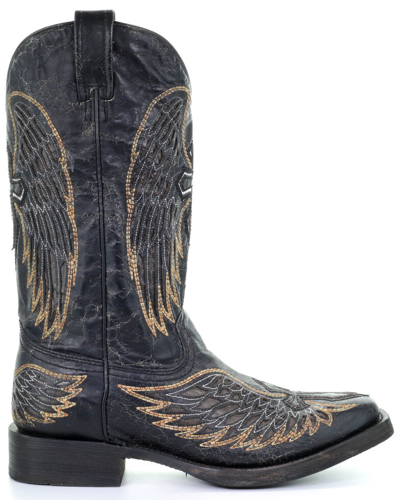 Corral Men's Wings & Cross Inlay Western Boots - Square Toe, Black, hi-res