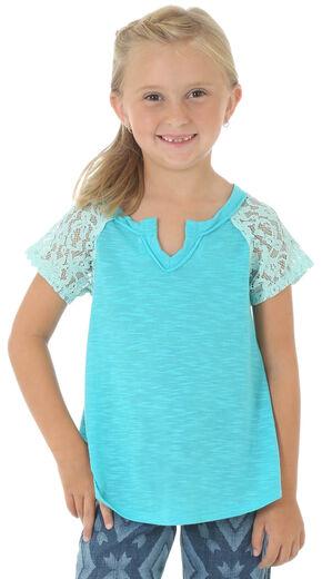 Wrangler Girls' Short Sleeve Crochet Sleeve Knit Top, Turquoise, hi-res