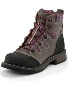 Justin Women's Claudette Waterproof Work Boots - Composite Toe, Grey, hi-res