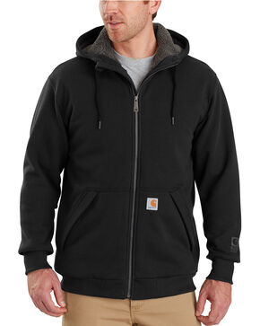 Carhartt Men's Rain Defender Rockland Sherpa-Lined Full-Zip Hooded Sweatshirt , Black, hi-res