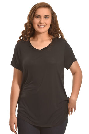 Derek Heart Women's Deep V-Neck Oversize Tee - Plus Size, Black, hi-res