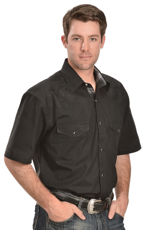 Red Ranch Short Sleeve Black Embroidered Western Shirt, Black, hi-res