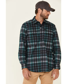 ATG™ by Wrangler Men's All Terrain Dark Green Plaid Pocket Utility Long Sleeve Western Flannel Shirt - Big & Tall, Green, hi-res