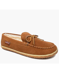 Minnetonka Men's Brown Taft Slippers - Moc Toe, Brown, hi-res