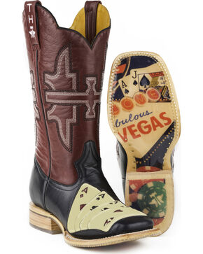 Tin Haul Men's 4 of A Kind with House of Cards Sole Cowboy Boots - Square Toe, Black, hi-res