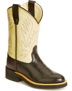 Old West Youth Cowboy Boots - Round Toe, Black, hi-res