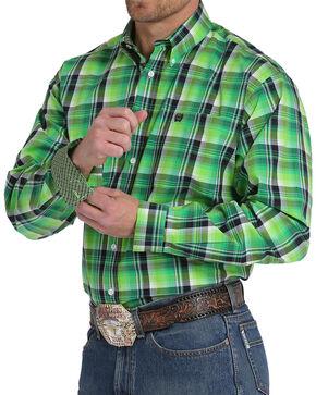Cinch Men's Lime Plaid Plain Weave Long Sleeve Button Down Shirt, Bright Green, hi-res