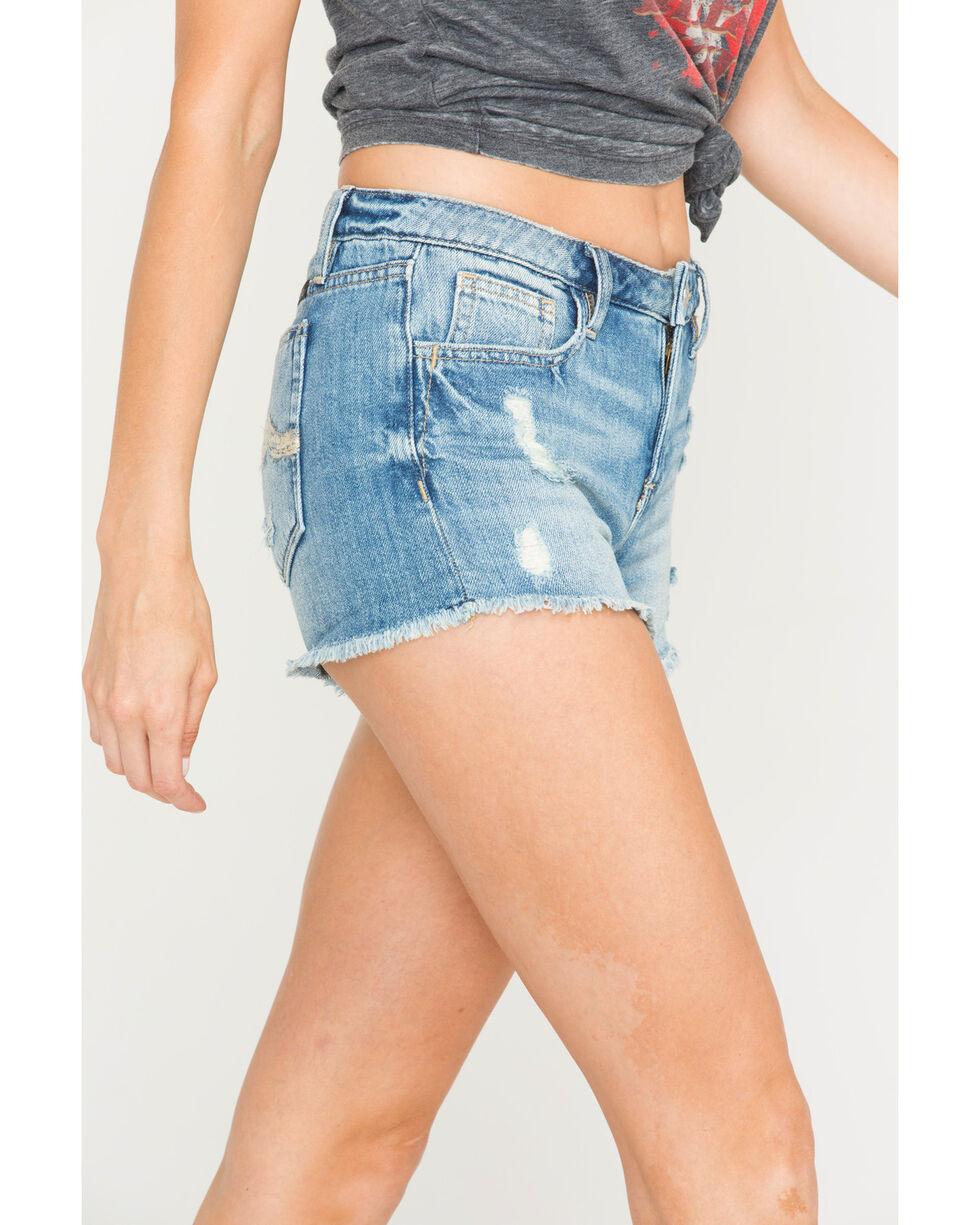 Miss Me Women's Miss Me More Mid-Rise Shorts, Indigo, hi-res