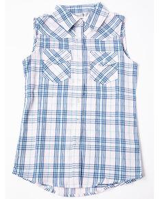 Shyanne Girls' Plaid Woven Sleeveless Button Down Shirt, Pink, hi-res