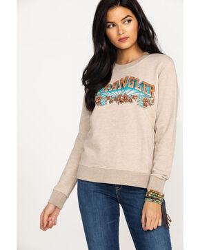 Wrangler Women's Modern Floral Logo Crew Sweatshirt , Tan, hi-res