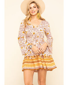 Band of Gypsies Women's Blush Floral Border Print Dress, Blush, hi-res