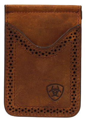 Ariat Leather Money Clip, Brown, hi-res