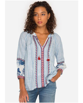 Johnny Was Women's Boho Mix Peasant Blouse, Blue, hi-res