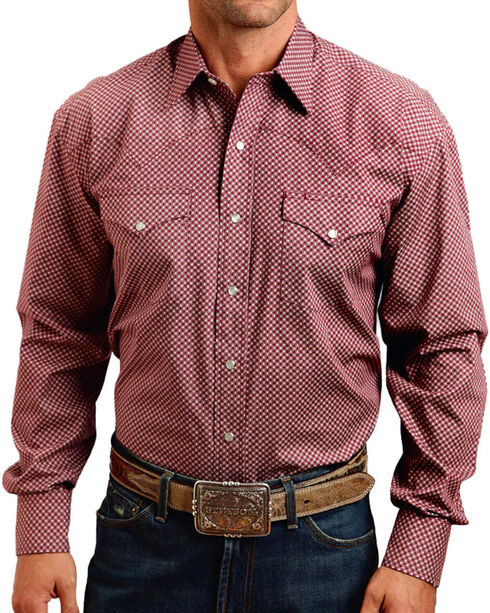 Stetson Men's Circle Printed Long Sleeve Shirt, Burgundy, hi-res