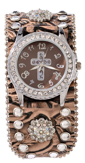 Brown Floral Embossed Rhinestone & Concho Watch, Brown, hi-res