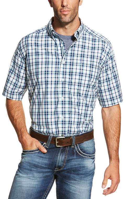 Ariat Men's Blue Nawton Short Sleeve Shirt - Big and Tall , Blue, hi-res