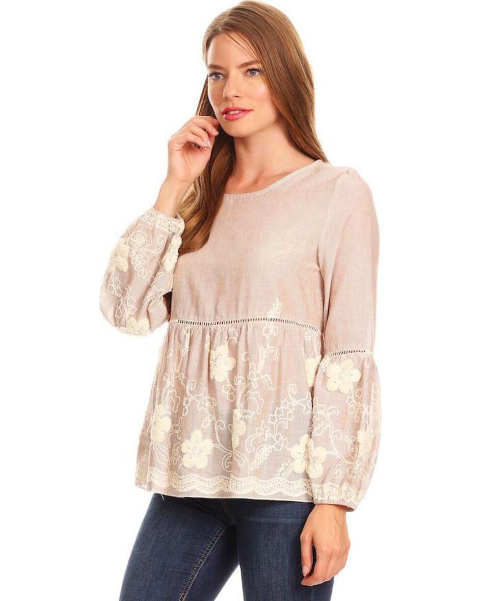 Young Essence Women's Taupe Stripe Embroidered Top , Taupe, hi-res