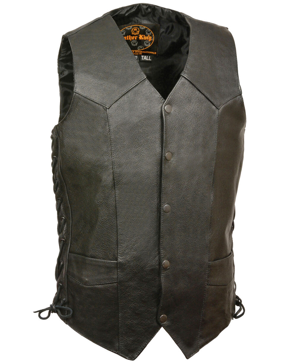 Milwaukee Leather Men's Black Classic Side Lace Biker Vest - Tall , Black, hi-res