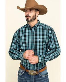 Ariat Men's Iberville Small Plaid Long Sleeve Western Shirt - Tall , Black, hi-res