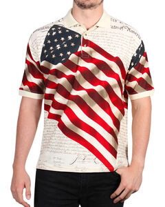 Cody James Men's Independence Short Sleeve Polo Shirt - Big , Cream, hi-res