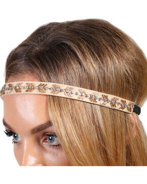Shyanne® Women's Gold Beaded Headband, Tan, hi-res