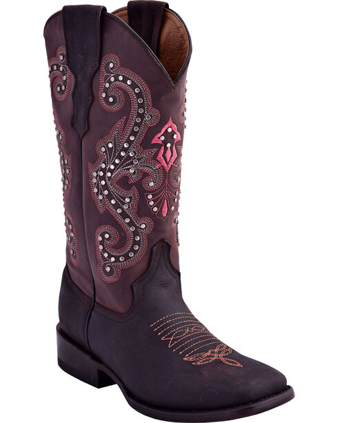 Ferrini Women's Studded Cowgirl Boots - Square Toe , Chocolate, hi-res