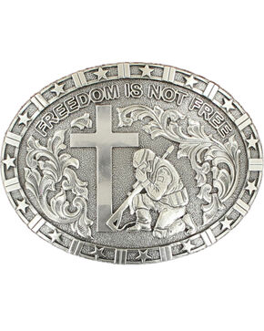 """Nocona """"Freedom is not free"""" solider/cross buckle, Silver, hi-res"""