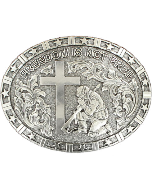 "Nocona ""Freedom is not free"" solider/cross buckle, Silver, hi-res"
