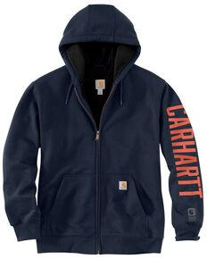 Carhartt Men's New Navy Original Fit Lined Graphic Zip Front Work Sweatshirt - Big , Navy, hi-res