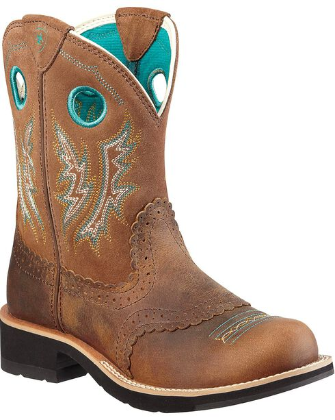 Ariat Fancy Stitched Saddle Vamp Fatbaby Boots - Round Toe, Brown, hi-res