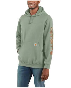 Carhartt Men's Green Signature Sleeve Logo Hooded Work Sweatshirt - Big , Green, hi-res