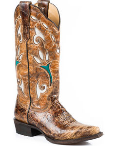 Stetson Tulip Cowgirl Boots - Snip Toe, Brown, hi-res