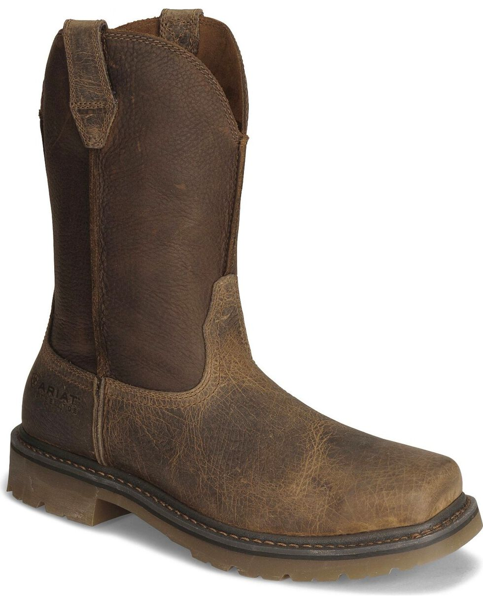 Ariat Earth Rambler Pull-On Work Boots - Steel Toe, Earth, hi-res