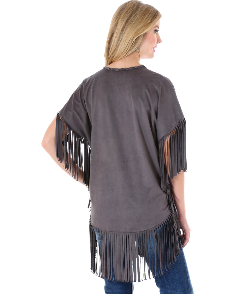 Wrangler Rock 47 Women's Faux Suede Laser Cut Kimono, , hi-res