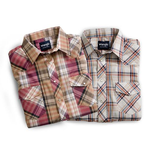 Wrangler Assorted Stripe or Plaid Long Sleeve Classic Western Shirt - Tall, Plaid, hi-res