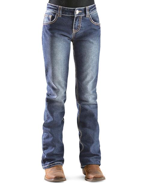 Red Ranch Girls' Fleur de Lis Bootcut Jeans - 7-14, Denim, hi-res