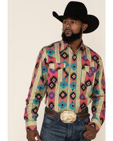 Roper Men's Vintage Vertical Aztec Print Long Sleeve Western Shirt , Brown, hi-res