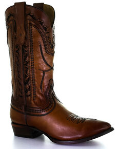 Corral Men's Laser & Whipstitch Western Boots - Round Toe, Tan, hi-res