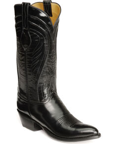Lucchese Handmade Classics Seville Goatskin Boots - Pointed Toe, Black, hi-res