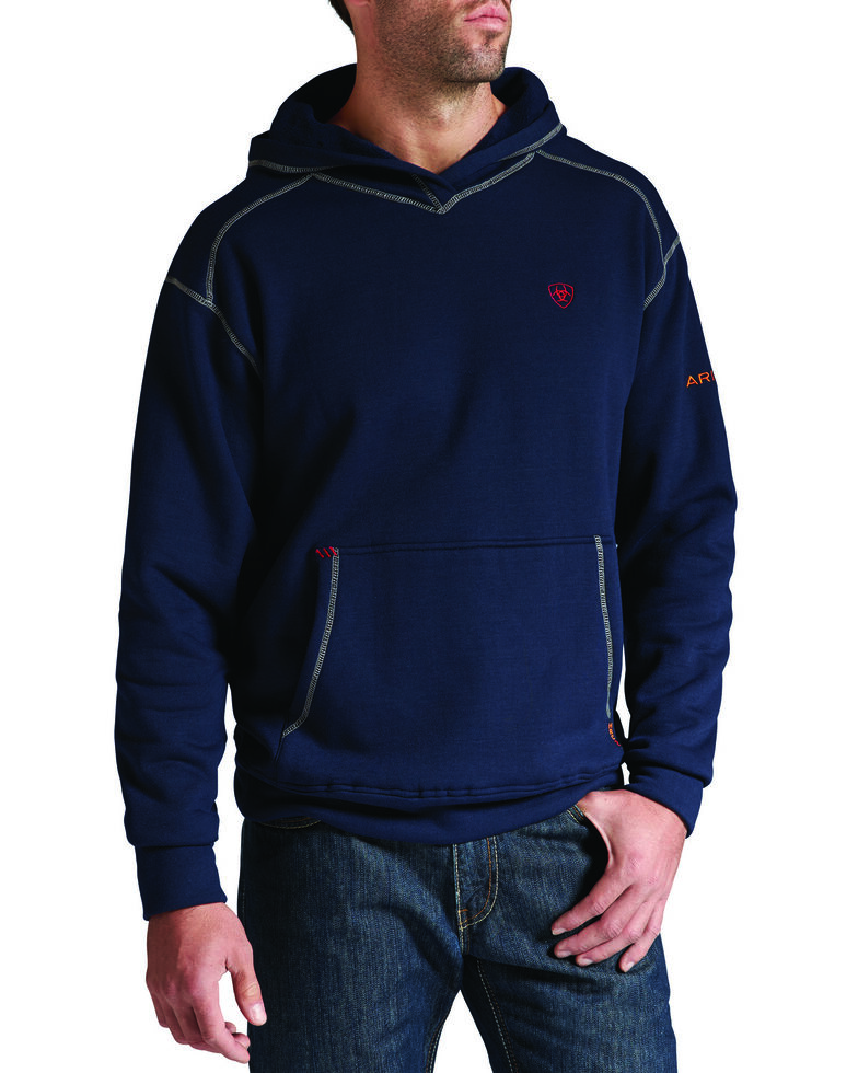 Ariat Men's Flame-Resistant Polartec Hooded Work Sweatshirt - Big and Tall, Navy, hi-res