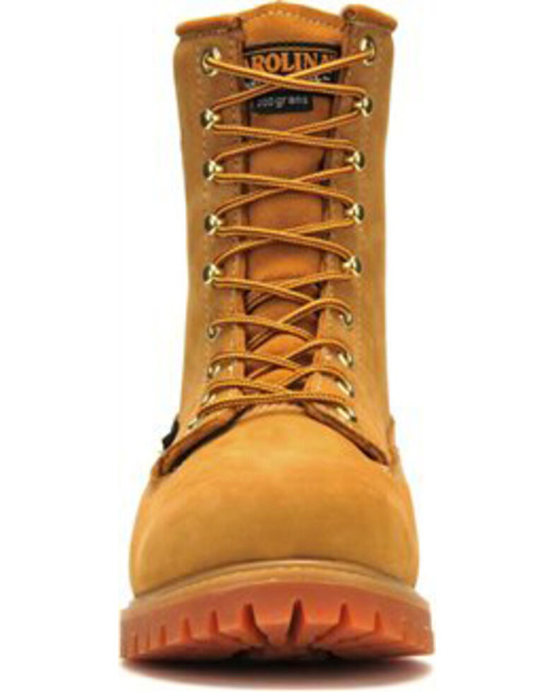 """Carolina Men's Brown 8"""" Waterproof 200G Insulated Grizzly Boots - Steel Toe, Brown, hi-res"""