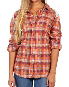White Crow Women's Lace and Plaid Long Sleeve Flannel Shirt, Burgundy, hi-res