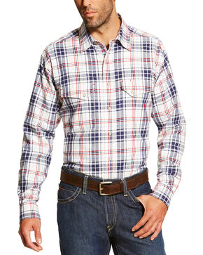 Ariat Men's White FR Duke Work Shirt - Big and Tall, White, hi-res