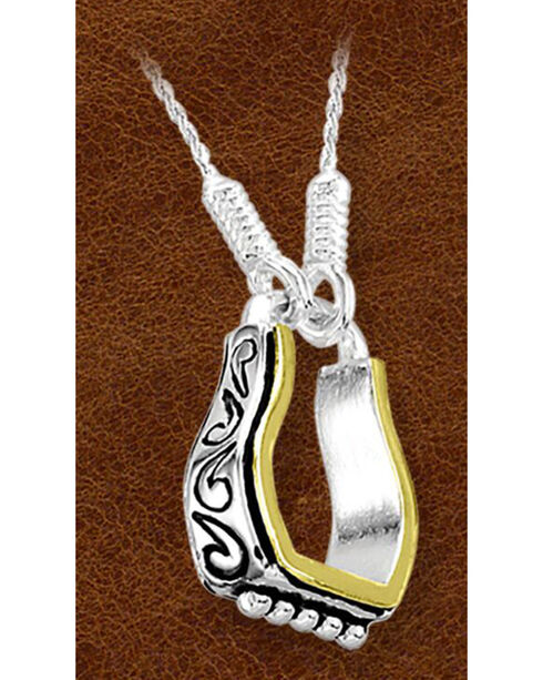 Kelly Herd Sterling Silver Fancy Engraved Stirrup Necklace, Silver, hi-res