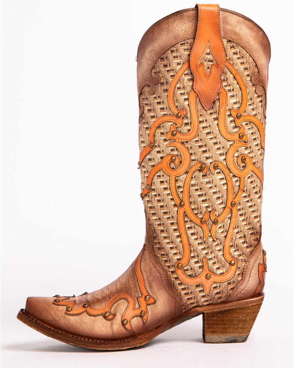Corral Women's Swirl Overlay Stud Cowgirl Boots - Snip Toe, Cream, hi-res