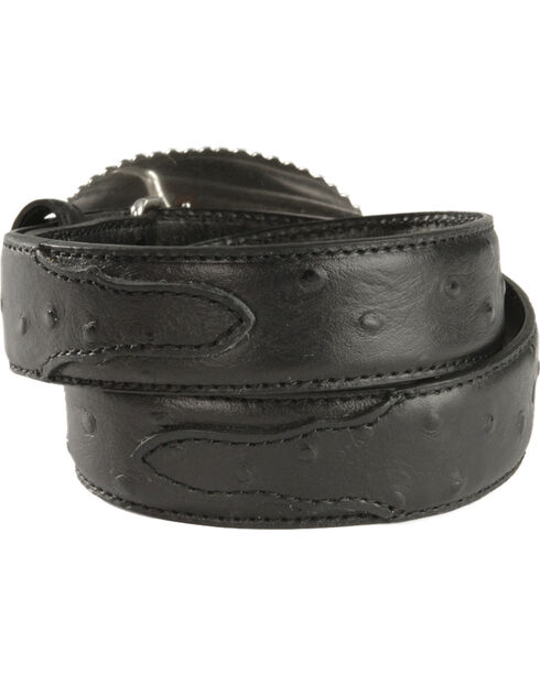 Nocona Children's Ostrich Print Leather Belt - 18-26, Black, hi-res