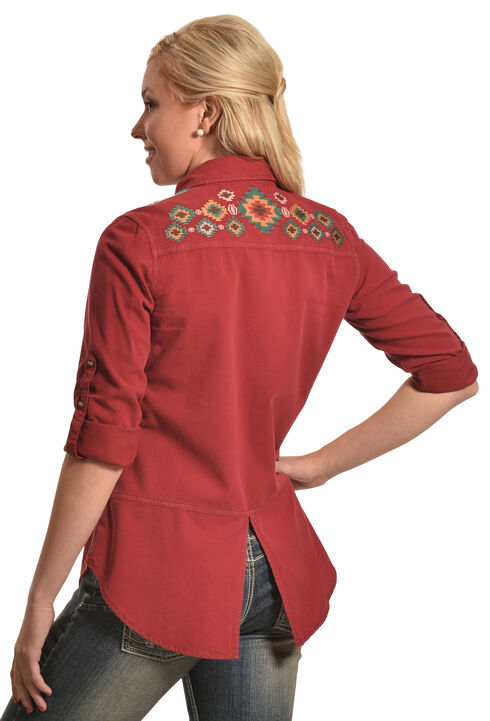 Ryan Michael Wine Embroidered Split Back Shirt , Wine, hi-res